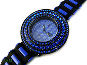 "Black and Blue ""Breitling inspired 3 Row Bezel"" Watch with silicone band (Clear-Coated Bezel)"