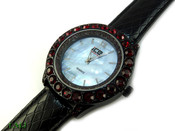 "Black and Blood Red ""Boulder Bezel"" and Blue Pearl face Watch with leather band (Clear-Coated Bezel)"