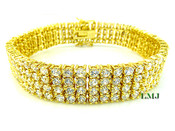 """4 Row Gold and White Lab Made Diamond 8"""" Tennis Bracelet (Clear-Coated)"""