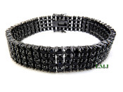 "4 Row Black Lab Made Diamond 8"" Tennis Bracelet (Clear-Coated)"
