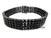 "4 Row Black Lab Made Diamond 8"" Tennis Bracelet (Clear-Coated)"