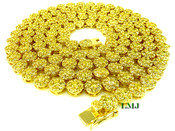 "1 Row 26"" All Yellow Lab Made Diamond 3D Cluster Chain (Clear-Coated)"
