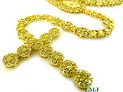 """All Yellow Lab Made Diamond Virgin Mary Rosary """"Cluster"""" Chain (Clear-Coated)"""