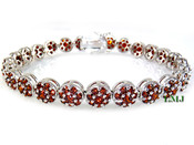 "1 Row White with Blood Red Lab Made Diamond 8"" 3D Cluster Bracelet (Clear-Coated)"