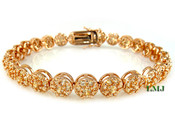 "1 Row Rose Gold with Champagne Lab Made Diamond 8"" 3D Cluster Bracelet (Clear-Coated)"