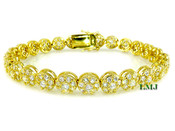 "1 Row Gold and White Lab Made Diamond 8"" 3D Cluster Bracelet (Clear-Coated)"