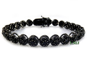 "1 Row All Black Lab Made Diamond 8"" 3D Cluster Bracelet (Clear-Coated)"