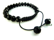 "Black Lab Made Disco Ball 10mm Bead Bracelet (Adjustable 7""-10"")"