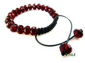 "Ruby Red Lab Made Disco Ball 10mm Bead Bracelet (Adjustable 7""-10"")"