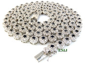 """1 Row 36"""" Black and White Lab Made Diamond 3D Cluster Chain (Clear-Coated)"""