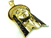 (SOLD OUT) Gold Tone Lab Made Diamond 3D Jesus Head Pendant (Clear-Coated)