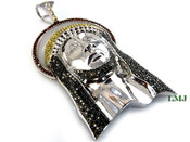 (SOLD OUT) White Tone Lab Made Diamond 3D Jesus Head Pendant (Clear-Coated)