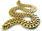 "30"" 14K Gold Plated Cuban Link Chain - 10mm wide (Clear-Coated)"