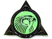 "Black Tone Lab Made Diamond Yeezy 2 inspired Logo ""3D Horus Pendant"" (Clear-Coated) *FREE Stainless Steel Franco Chain included!"