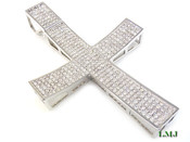 "(SOLD OUT) White Lab Made Diamond ""Super Concave"" 4.5"" Cross Pendant (Clear-Coated)"