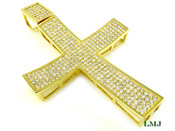 "(SOLD OUT) Gold and White Lab Made Diamond ""Super Concave"" 4.5"" Cross Pendant (Clear-Coated)"