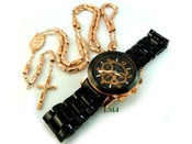 COMBO DEAL! Rose gold tone moon-cut rosary chain and watch w/metal band (package #1)