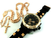 COMBO DEAL! Rose gold tone moon-cut rosary chain + watch w/Black silicone band (package#2)