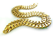 "24"" 14K Gold Plated Cuban Link Chain - 10mm wide (Clear-Coated)"