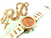 COMBO DEAL! Rose gold tone moon-cut rosary chain + watch w/White silicone band (package#9)