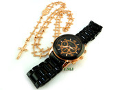 COMBO DEAL! Rose gold tone cross-link rosary chain and watch w/metal band (package #1)