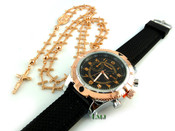 COMBO DEAL! Rose gold tone cross-link rosary chain + watch w/Black silicone band (package#3)