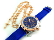 COMBO DEAL! Rose gold tone cross-link rosary chain + watch w/Blue silicone band (package#4)