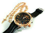 COMBO DEAL! Rose gold tone cross-link rosary chain + watch w/Black silicone band (package#5)