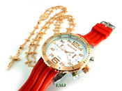 COMBO DEAL! Rose gold tone cross-link rosary chain + watch w/Red silicone band (package#7)