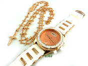 COMBO DEAL! Rose gold tone cross-link rosary chain + watch w/White silicone band (package#9)