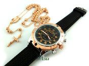 COMBO DEAL! Rose gold tone moon-cut ball bead rosary chain + watch w/Black silicone band (package#3)