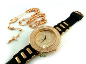 "COMBO DEAL! Rose gold tone moon-cut ball bead rosary chain + ""Fully Loaded 4-row bezel"" watch (package#11)"