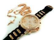 "COMBO DEAL! Rose gold tone moon-cut ball bead rosary chain + fully loaded ""5-time zone"" watch (package#13)"