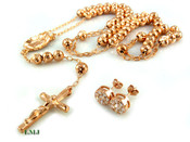 """COMBO DEAL! Rose gold tone/925 Silver cluster earrings + 30"""" moon-cut ball bead rosary chain (clear-coated)"""