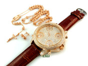 "COMBO DEAL! Rose gold tone/925 Silver cluster earrings + fully loaded ""5-time zone"" watch w/Brown leather band + 30"" moon-cut ball bead rosary chain (package#3)"