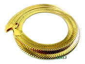"24"" Gold Plated Thick Herringbone Chain- 1/2"" wide (Clear-Coated)"