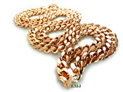 """36"""" 14K Rose Gold Plated Cuban Link Chain -8mm wide (Clear-Coated)"""