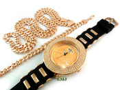 "COMBO DEAL! Rose Gold tone ""4-row bezel"" watch + 30"" Cuban link chain + 8.5"" Cuban link bracelet -8mm wide (Clear-Coated)"