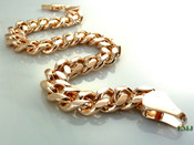 "8.5"" 14K Rose Gold Plated Cuban Link Bracelet -8mm wide (Clear-Coated)"