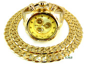 """COMBO DEAL! 14K Gold tone """"Invinctor"""" watch + 24"""" Cuban box link chain -12mm(1/2 inch) wide (Clear-Coated)"""