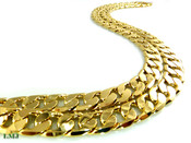 """30"""" 14K Gold Plated Cuban Box Link Chain - 12mm (1/2"""") wide (Clear-Coated)"""