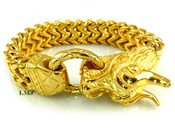 "18K Gold/Stainless Steel ""Enter the Dragon"" double-box Cuban link 8.5"" bracelet  - 15mm(5/8"") wide (Clear-Coated)"