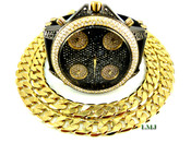 "COMBO DEAL! 14K Gold/Black tone fully loaded ""5 time-zone"" watch + 24"" Cuban box link chain -12mm(1/2 inch) wide (Clear-Coated)"