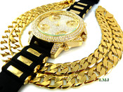 "COMBO DEAL! 14K Gold tone fully loaded ""5 time-zone"" watch + 30"" Cuban box link chain -12mm(1/2 inch) wide (Clear-Coated)"