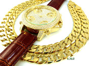 """COMBO DEAL! 14K Gold tone """"Fully Loaded 5 time-zone"""" watch w/Brown leather band + 24"""" Cuban box link chain -12mm(1/2 inch) wide (Clear-Coated)"""