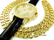 "COMBO DEAL! 14K Gold tone fully loaded ""5 time-zone"" watch w/Black leather band + 30"" Cuban box link chain -12mm(1/2 inch) wide (Clear-Coated)"