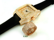 "COMBO DEAL! 14K Rose Gold and White Lab Made Diamond ""Fully Loaded 360"" Ring + ""Fully Loaded Carter"" Watch (Clear-Coated)"