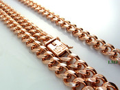 "COMBO DEAL! 30"" 14K Rose Gold Plated Cuban Link Chain + 8.5"" Cuban Link Bracelet (w/BOX LOCK CLASP) -8mm wide (Clear-Coated)"
