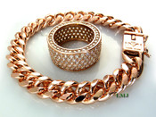 "14K Rose Gold and White Lab Made Diamond ""Fully Loaded 360"" Ring + 8.5"" Cuban Link Bracelet (w/BOX LOCK CLASP) -8mm wide (Clear-Coated)"