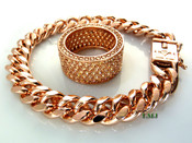 "14K Rose Gold and Champagne Lab Made Diamond ""Fully Loaded 360"" Ring + 8.5"" Cuban Link Bracelet (w/BOX LOCK CLASP) -8mm wide (Clear-Coated)"